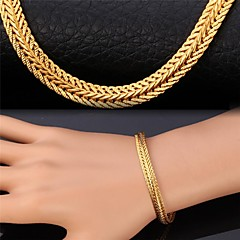 U7®Wheat Chain Bracelet 18K Real Gold Plated Vintage Chunky Bracelet Fashion Jewelry for Women Christmas Gifts