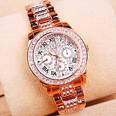 Women's Round Dial Rome Diamond Alloy Band Quartz Bracelet Watch Cool Watches Unique Watches