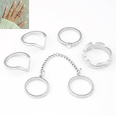 European Style Metal Personality Simple Chain Ring (6PCS)