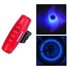 fjqxz bullet suunnittelu abs punainen vedenpitävä varoitusvalo takavalo ja 2 kpl sininen pyörä puhui valo sarja