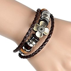 European And American Vintage Four Leaf Grass Lucky Hand-Woven Leather Bracelet Three Layers (Two Colors)