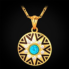 U7® Turquoise Stone 18K Real Gold Plated Rhinestone Circular Pendant Necklace Fashion Jewelry