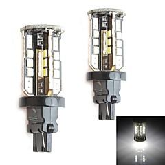 HJ 3156 10W 900LM 5500-6000K 30x2835 SMD LED White Light Bulb for Car Brake Light (12-24V,2 Piece)