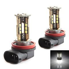 HJ H11 10W 900LM 5500-6000K 30x2835 SMD LED White Light Bulb for Car Brake Light (12-24V,2 Piece)