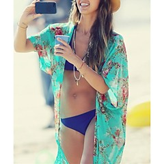 Women's Fashion Green Print Chiffon Swimsuit Bikini Swimwear Beach Cover Up Wrap Scarf