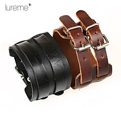 Lureme® Vintage Leather Bracelet,Punk Style Men And Women Bracelet,Double Wide Leather Leather Bracelet Jewelry