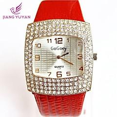 Mulheres Relógio Casual Quartzo imitação de diamante PU Banda Preta Branco Vermelho Marrom Branco Preto Café Vermelho