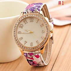 Women's  Round Golden  Dial Butterfly Leather Band Quartz Analog Wrist Watch(Assorted Color)