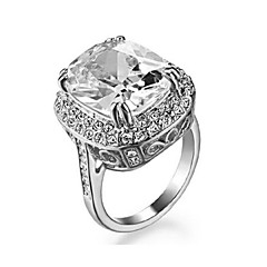 Big Four Claw 18K White Gold Plated Princess 6ct Cut Zircon Wedding Ring Austrian Crystals