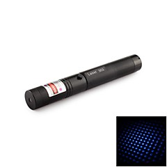 303 Harden Aluminum 9-Mode Starry Blue Laser Pointer with 18650 Battery & EU Charger (5mW, 405nm, 1x18650, Black)