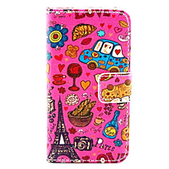 Love in Paris Pattern PU Leather Full Body Case With Stand for iPhone 4/4s