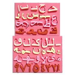 2pc/Set Silicone Fondant Arabic Alphabet Number Fondant Cake Molds Chocolate Mould