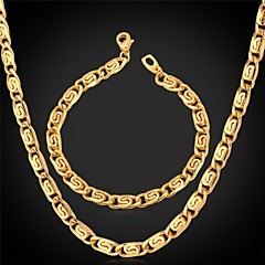 U7® Unique Design 18K Stamp Men's Gold Plated Chunky Bracelet Chain Necklace Jewelry Set for Men High Quality 22'' 8''