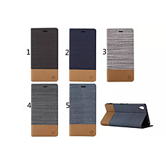 Canvas Lines Hit Color No Buckle PU Leather Full Body Case for Sony Xperia Z3(Assorted Color)