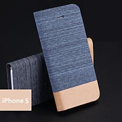 Couleur Mélangée/Design Spécial - Coque avec Support/Coque Intégrale - pour iPhone 5/iPhone 5S ( Noir/Bleu/Gris/Beige/Marine , Cuir PU )