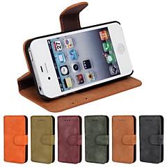 Côr Sólida/Outro/Couro - iPhone 4/4S - Capa com Suporte/Cases Totais/Outro/Caso Wallet Pele PU/Outro)