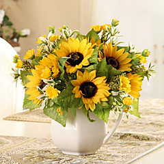 6 Heads Rural Style Silk Cloth Simulation Sunflowers Yellow