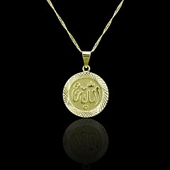 Oro verdadero 18k plateó allah musulmán colgante circular