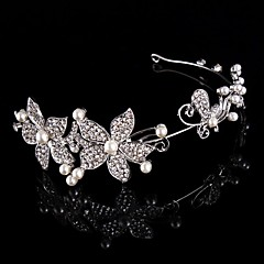 Bridal Crown Silver Tiara Queen Flower Butterfly Crystal/Diamond Pearls Flower Hairclips Headpiece For Wedding/Party