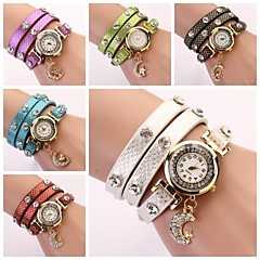 Women's Round Dial Multi-layer Band Moon Pendant Quartz Analog Fashion Bracelet Watch (Assorted Color)