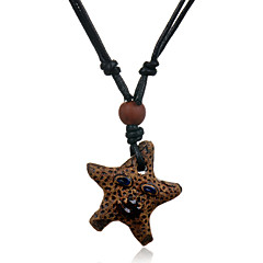 Ethnic Retro Leather Woven  Bead Starfish Ceramics Pendant Adjustable Necklace