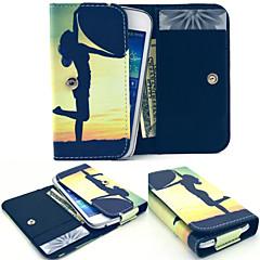 stort hjärta läder plånbok stil hela kroppen fallet och kortplats för Samsung Mobile storlek
