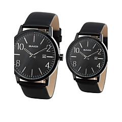 Pair of Unisex PU Analog Quartz Wrist Watch (Black)