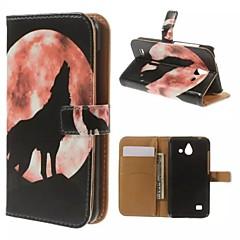 caso lobo lua padrão carteira cartão uivo pu com suporte para o Huawei Ascend Y550