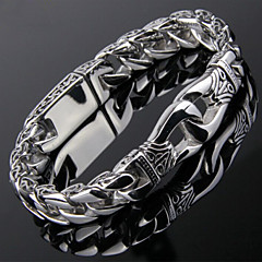 Toonykelly® Vintage 22CM Men's Stainless Steel Silver Bracelet(Silver)(1PC) Jewelry Christmas Gifts
