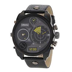 Men's Dual Time Zones Design Black Leather Band Quartz Wrist Watch