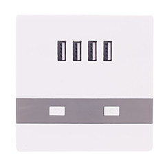 076 4USB universaali latauksen pistorasiaan (valkoinen)