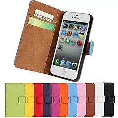 colore solido elegante custodia in vera fessura pu wallet card flip in pelle con supporto per iPhone 5 / 5s (colori assortiti)
