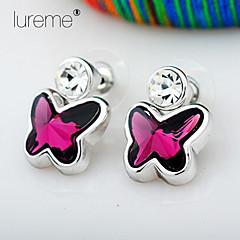 Lureme® 925 Plating Silver Earrings, Butterfly Rhinestone Earrings, Crystal Earrings,Drop Earrings