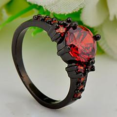 High Quality Fashion Women Pomegranate Red Round Zircon Ring