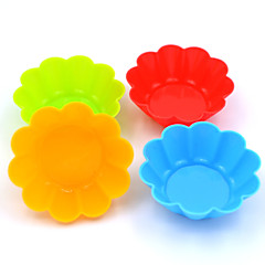 Silicone Cake Chocolate Pudding Jelly Mold With Baking Oven Silicone Mold Muffin Cup (Plum Flower) (Color Random)