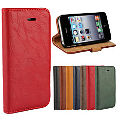 Bark Grain Genuine Leather Full Body Cover with Stand and Case for iPhone 4/4S