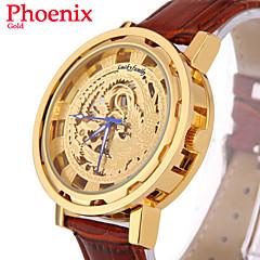 Men's Watch Chinese Phoenix Pattern Automatic Mechanical Wrist Watch PU Leather Auto Self-Wind Clock (Assorted Colors)
