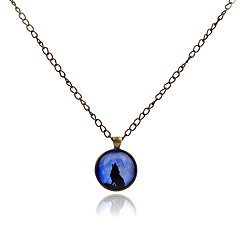 Lureme®  Simple Style Retro The White Wolf Mother And Son Time Gem Alloy Pendant Necklace