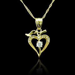 18K Real Gold Plated Heart Zircon Pendant 2*3.2CM