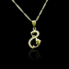 18K Real Gold Plated Double The Dolphins Pendant 1.3*3CM