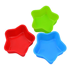 Silicone Cake Chocolate Pudding Jelly Mold With Baking Oven Silicone Mold Muffin Cup (Five-Pointed Star) (Color Random)