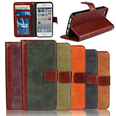 genuina nubuck matte casi fessura bovina pu wallet card flip in pelle con supporto per iPhone 5 / 5s (colori assortiti)