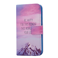 Snow Mountain Pattern PU Leather Full Body Case with Card Slot for Samsung Galaxy S5 Mini