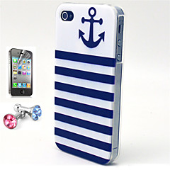 Striped Anchor Pattern TPU Soft Case with Anti-dust Plug and Flim for iPhone 4/4S