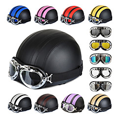 54-60cm Leather Motorcycle Goggles Vintage Garman Style Half Helmets Motorcycle Biker Cruiser Scooter Touring Helmet