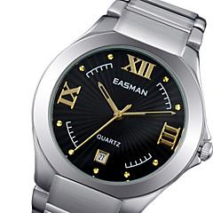 EASMAN Men's Sapphire Dial Round Shape Stainless Steel Swiss Movement Quartz Watch Gold Wristwatch