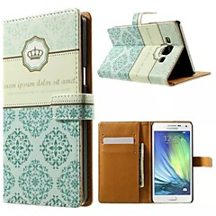 Crown And Flower Pattern Wallet Card PU Case with Stand for Samsung Galaxy A5