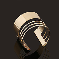 Retro Rome Style Geometry Opening Metal Golden Bracelets