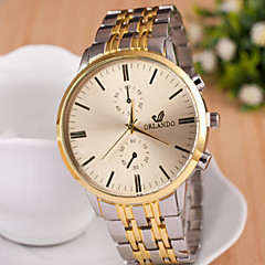 Men's Fashion Eyes Calendar Between Gold Quartz Analog Steel Belt Watch(Assorted Colors) Cool Watch Unique Watch