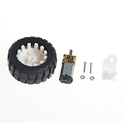 Geared Motors With Robot Rubber Tire Wheel Bracket (6V100 turn)